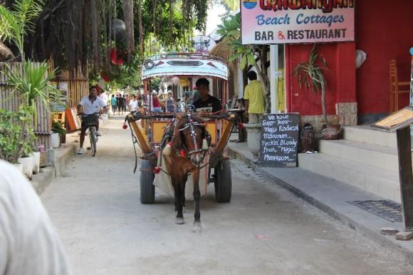 Gili Trawangan, Kutsche auf der Hauptstrasse
